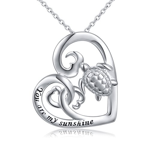 ALPHM (Health and Longevity) S925 Sterling Silver Turtle Love Heart Pendant Necklace for Women Girl Mother 18'' Chain
