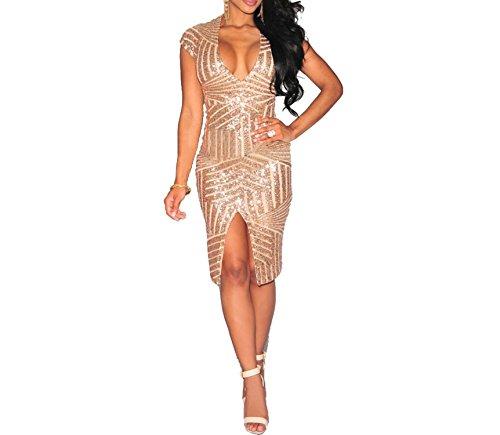 Mainstream Women's deep V Sexy Dress Retro Short-Sleeved Sequin Dress,Medium,Champagne
