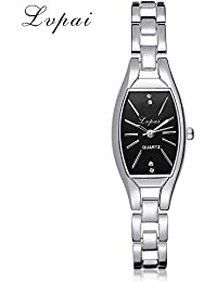 S660 Ladies Women's Luxury Watch on Sale Analog Quartz Wrist Watches Plated Alloy Round Dial Stainless Steel Strap Clearance Fashion Dress for Woman & Girls by St.Dona (Sliver black)