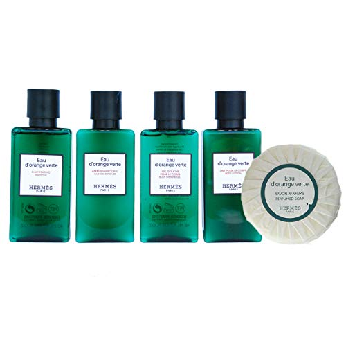 Fly Away with Hermes Luxury Travel Gift Set - Hermes d'Orange Verte Carry On Shampoo Conditioner Body Lotion Body Cleanser Soap and Bath Set TSA Approved (Bath Vert)