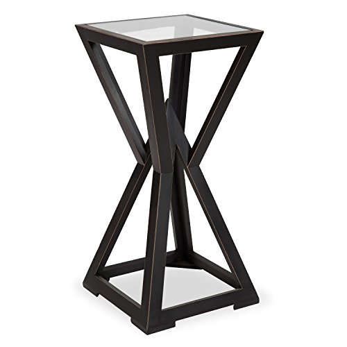 - Kate and Laurel Yogi Modern Accent Table Plant Stand Wooden Geometric Base and Glass Top, Black