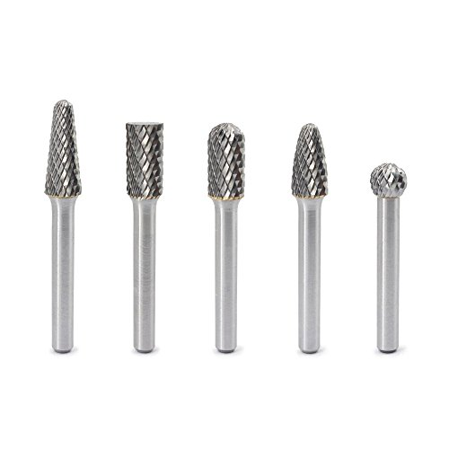 YUFUTOL Carbide Burrs Set - 5pcs Double Cut Solid Carbide Rotary Burr File Set 1/4 Inch Shank for Die Grinder Drill, Metal Carving,Polishing,Engraving,Drilling ()