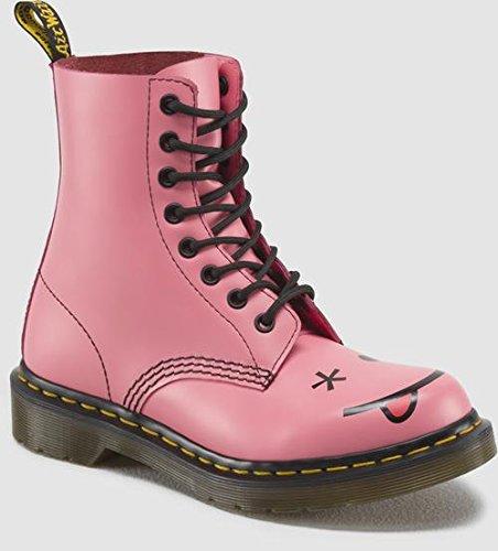 Dr. Martens Women's Hincky Smiley 8-Eye Boot,Pink,9 M UK / 11 B(M) US