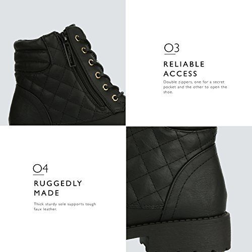Up Bootie Buckle Combat Boots Pu High Ankle Women's Quilted DailyShoes Credit Pocket Card Military Exclusive Lace Black qfw6WSt