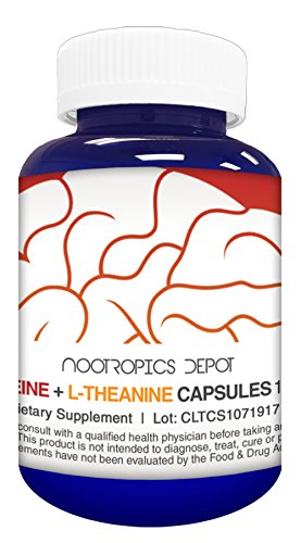 Caffeine and L-Theanine Capsules | 60 Count | Contains 100mg of Caffeine and 200mg of L-Theanine | Natural Nootropic Supplement | Energy Booster | Mental Focus + Alertness | Coffee Alternative by Nootropics Depot