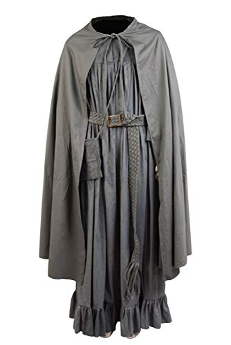 Ya-cos Men's The Fellowship of The Ring Gandalf Cosplay Costume Robe Cloak Grey/Brown (XXX-Large, Style-2)]()
