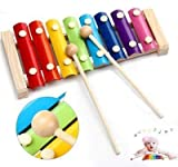 FidgetGear 8 Notes Wooden Kids Metal Xylophone Glockenspiel Musical Instrument Toy Music ~