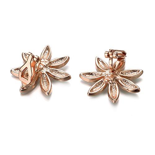 Yoursfs Flower Clip On Earrings for Women Non Pierced Ears Rose Wedding jewelry (White Clip Earrings) … by Yoursfs (Image #6)