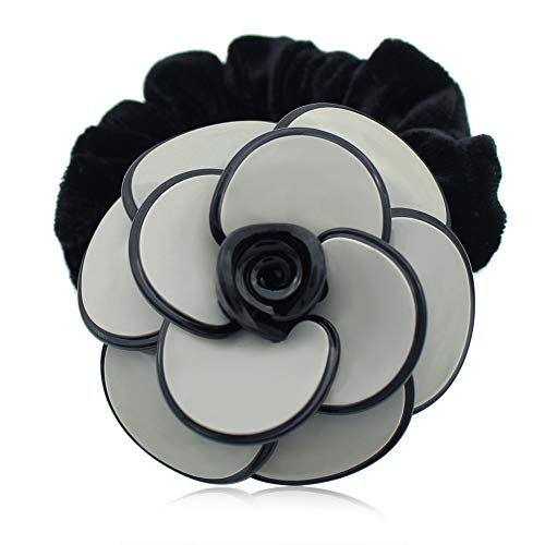 Elastic Hair Ornament - Camellia Flower Hair Ties - Hair Rope Band - French Ponytail Holders - Elegant Acetate Hair Accessories Jewelry - Vintage Tiara for Women Girls Braids Wedding Birthday Dance
