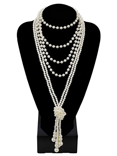 Zivyes 1920s Pearls Necklace Gatsby Accessories 59