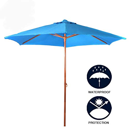 Panbay Valentine's d 8Ft Sunbrella Market Beach Umbrella Patio Outdoor Table Umbrella with Tilt Bonus Weatherproof Cover with Polyester Canopy Portable for UV Protection UPF 50+ (Sunbrella light blue)