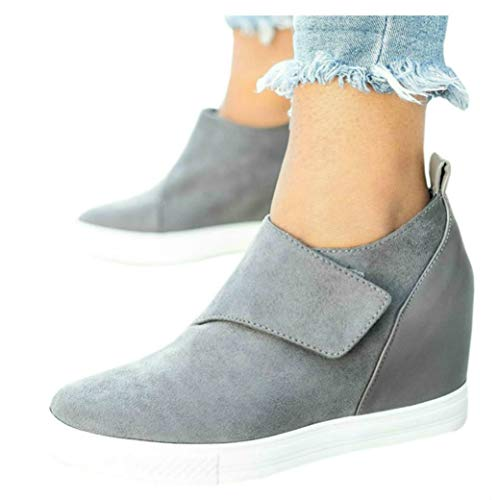 LAICIGO Women's Wedge Sneakers Platform Velcro Ankle High Top Almond Toe Faux Suede Casual Booties