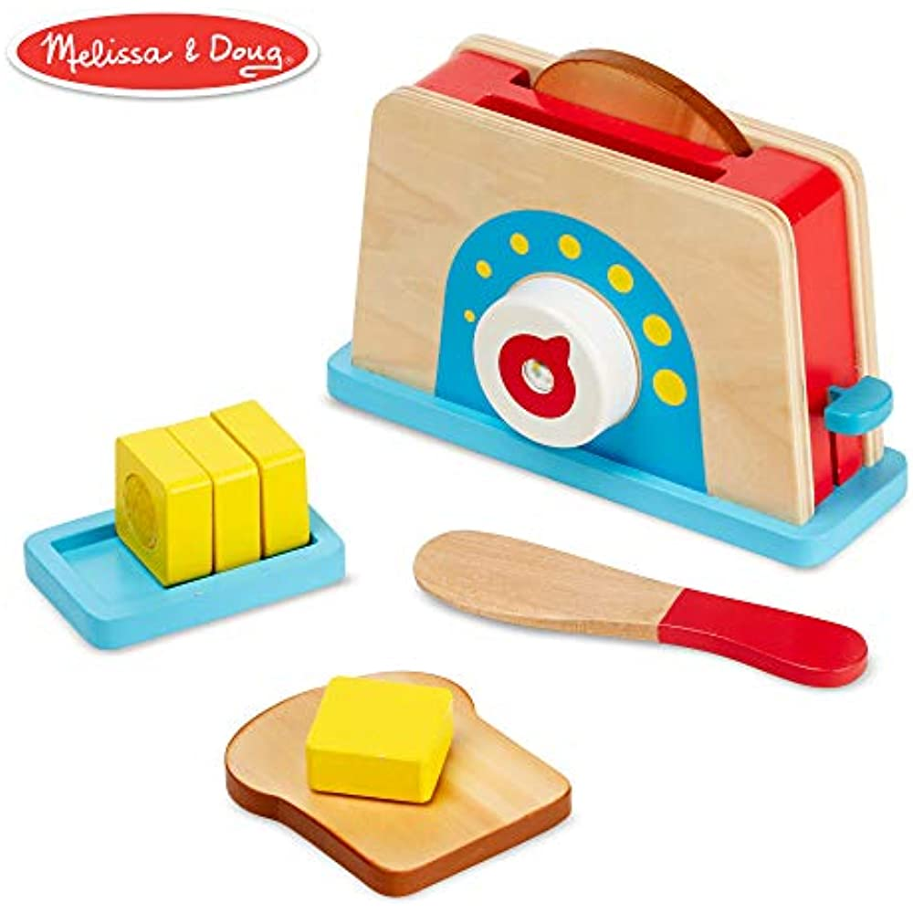 Details About Melissa Doug Bread Butter Toast Set Kitchen Toaster Food Kids Pretend Play Toy