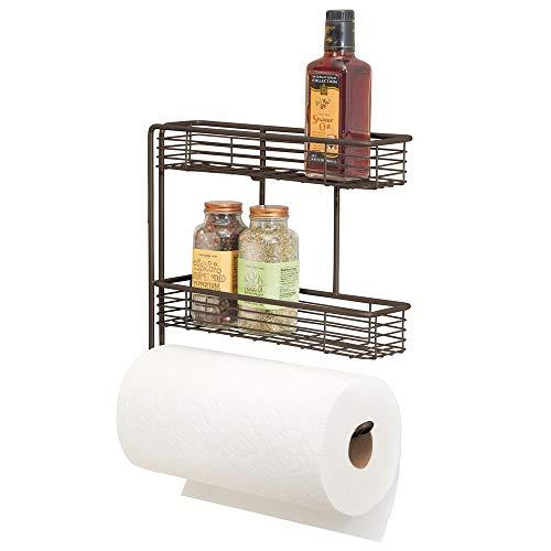mDesign Wall Mount Metal Paper Towel Roll Holder and Dispenser with 2 Shelf Baskets - Kitchen Storage and Organization for Spice Bottles, Glass Jars, Salt, Pepper - Bronze
