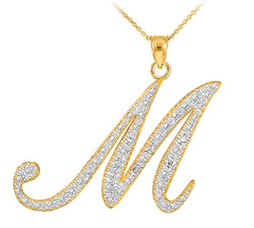 14k Yellow Gold Diamond Script Initial Letter M Pendant Necklace, 20
