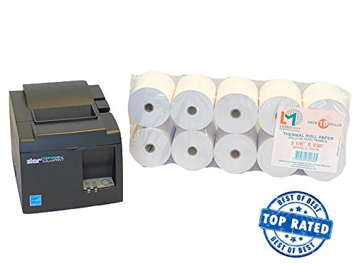 Thermal Auto Cutter (POS VALUE PACKAGE Star Micronics 39472310 Tsp143Iiiu Gry Us Tsp100Iii, Thermal, Auto-Cutter PLUS Thermal Paper Rolls 3-1/8 x 230' (Box of 10 Rolls Sealed Pack) # 1 Voted By Retailers in ALL AMERICA.)