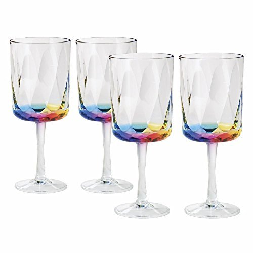 Merritt Rainbow Prism 16 Oz Acrylic Wine Glasses - Set Of - Glass Hurricane Acrylic