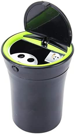 Easy to disassemble and Install Universal Portable Car ABS Trash Rubbish Bin AshtrayBlue LED Light and LitSimple and Practical