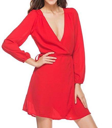 Solido Vestito Manica Del Donne Accetta Vita Delle Lunga A Coolred Collo Rosso V Casuale Profondo PawBq1OpP