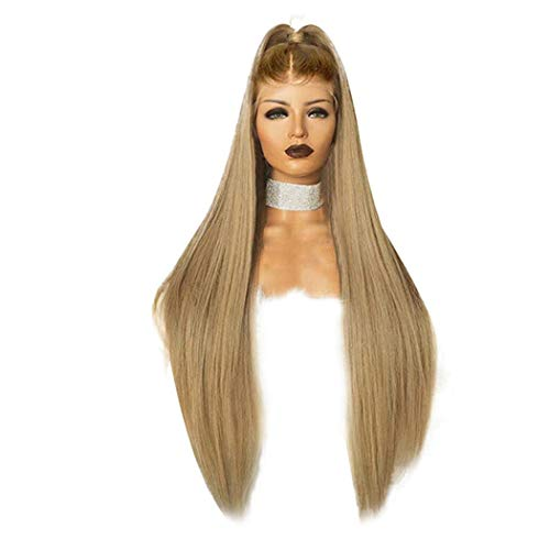 Inkach Clearance! Long Straight Lace Front Wig { Baby Hair } Blonde Ombre Synthetic Fiber Party Wigs for Black Women Middle Part Full Wigs (Multicolor) ()
