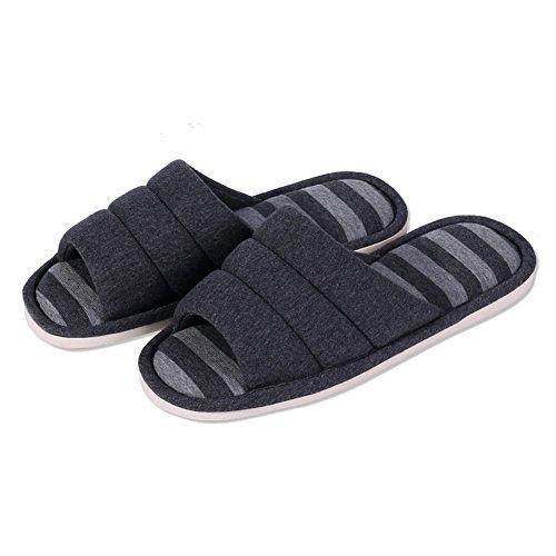 Shevalues woHombres Soft Indoor Slippers Open Toe Cotton Memory Foam Slip On Home Zapatos Zapatillas De Casa Negro