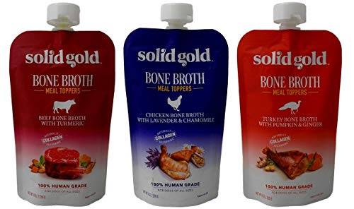(Solid Gold Human Grade Bone Broth Dog Food Meal Toppers 3 Flavor Sampler Bundle, 1 Each: Beef, Chicken, Turkey (8 Ounces))
