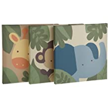Kids Line Jungle 123 Canvas Wall Art 3 Piece, Brown (Discontinued by Manufacturer)
