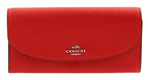 COACH Crossgrain Leather Slim Envelope Wallet (Bright Red) by Coach
