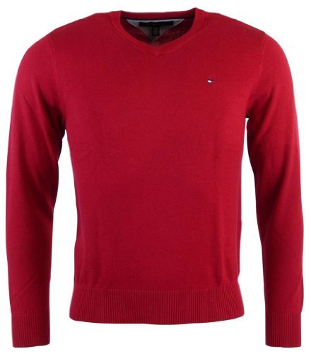 Tommy Hilfiger Mens Long Sleeve Pacific V-Neck Pullover Sweater - M - Red by Tommy Hilfiger