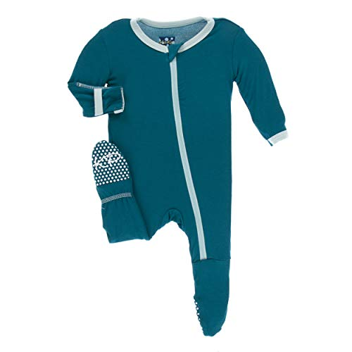 Kickee Pants Little Boys Solid Footie with Zipper - Heritage Blue with Spring Sky, ()