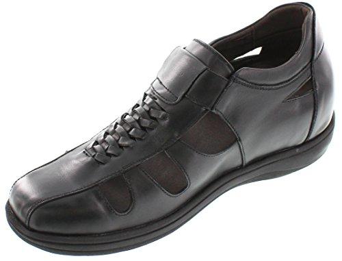 Toto-g1307-8,1cm Grande Taille-Hauteur Augmenter Chaussures ascenseur (Marron foncé open-toe Sandales)