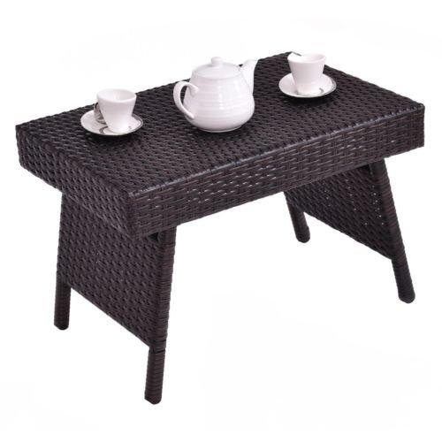 Mahogany Vintage Desk - Nikkycozie Mix Brown Portable Retro Foldable Rattan Side Coffee Table Desk