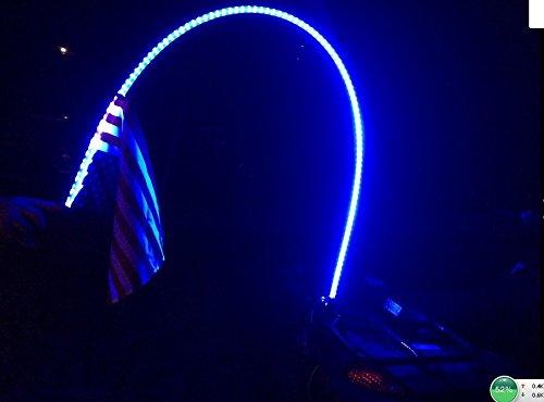Lumitek 6ft Whip Led Atv Utv Truck Blue LED Whip Light & Safety Flag- Blue