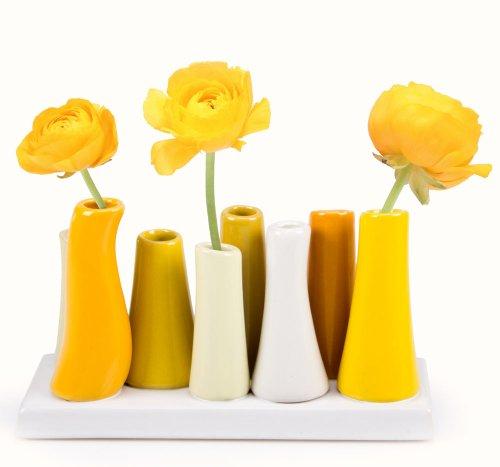 Chive - Pooley 2, Ceramic Flower Vase, 8-Tube Shape, Yellow Assortment
