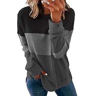 Acelitt Womens Casual Color Block Patchwork Crewneck Sweatshirt Long Sleeve Shirts Loose Pullover Tops Black Small