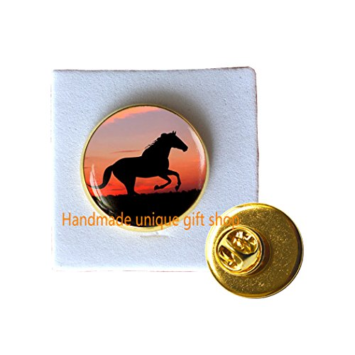 - Handmade unique gift shop Fashion Brooch, Charm Brooch, Dainty Brooch,Horse Brooch, running horse Pin, sunset Pin, Horse jewelry,glass dome Pin-RC380 (A)