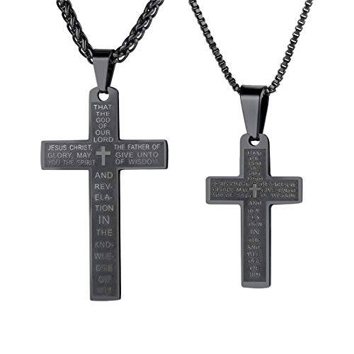 U7 Simple Cross Necklaces 2 Pcs Set Black Color Stainless Steel Ephesians 1 Lords Prayer Pendants for Men Women ()