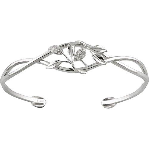 0.05 CTTW Cuff Bracelet with L