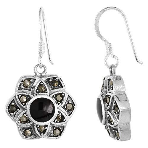 Silver Marcasite Flower Earrings - Hexagonal Sterling Silver Marcasite Black Onyx Flower Dangle Earrings Fishhook Back 5/8 inch long