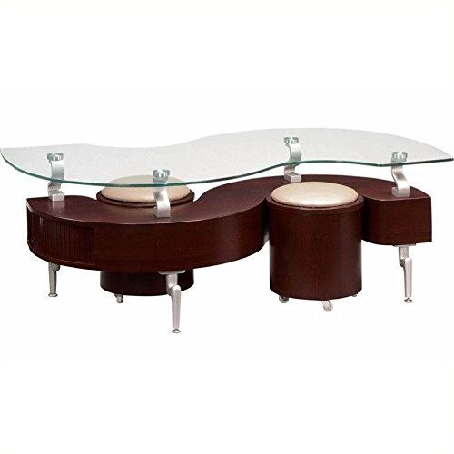 Cheap Global Furniture USA T288 Mahogany Occasional Coffee Table with Silver Legs