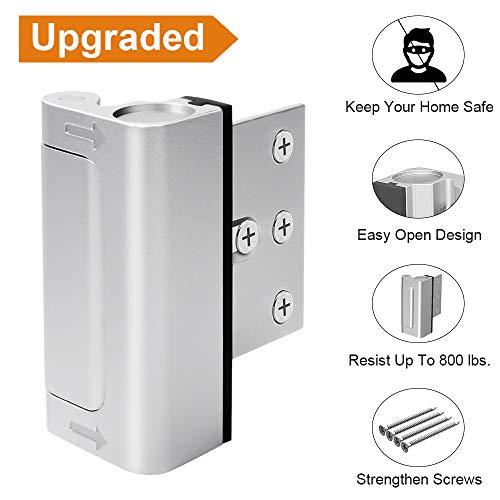 """Home Security Door Lock, Upgrade Easy Open Childproof Door Reinforcement Lock with 3"""" Stop Withstand 800 lbs for Inward Swinging Door, Nightlock Deadbolt with 4 Screws to Defend Your Home"""