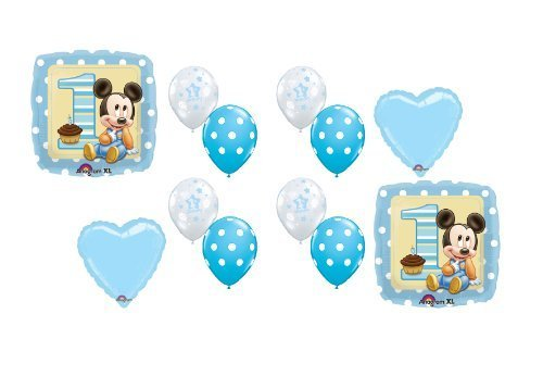 Baby Mickey Mouse #1 1st First Birthday Boy Balloon Kit Mylar Latex Set Party by Anagram ()