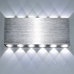 Interior Lighting Lightess Up Down Sconces Indoor Modern LED Wall Light Fixture Silver 24W Square Hallway Theater Decorative Lighting… modern wall sconces