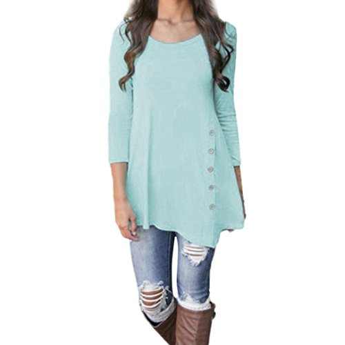 Minisoya Women Long Sleeve Casual Loose Button Blouse Irregular Tunic Long Tops Shirt (Blue, M)