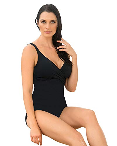 Leonisa Tummy Control One Piece Swimsuit With Crisscross Top,Black,36 /L - Firm Control Swimsuit