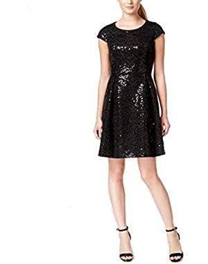 Calvin Klein Womens Sequin Embellished Sheath Dress Black 2
