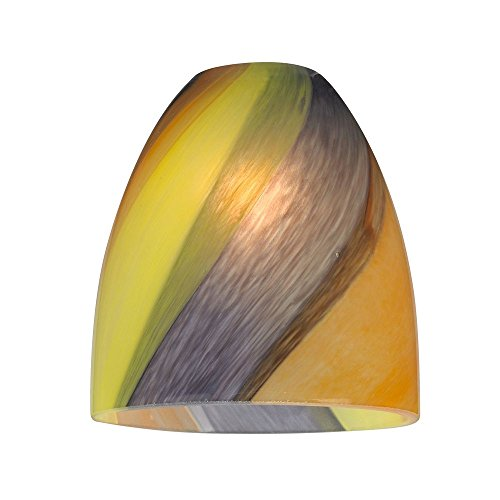 Design Classics Bell Art Glass Shade with Diagonal Stripe...