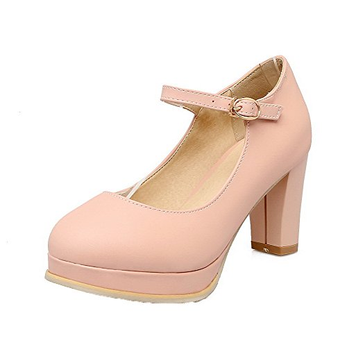 Solid Heels WeiPoot Pink 40 Buckle Shoes Women's Round High Toe Pumps PU 5II4wFqg