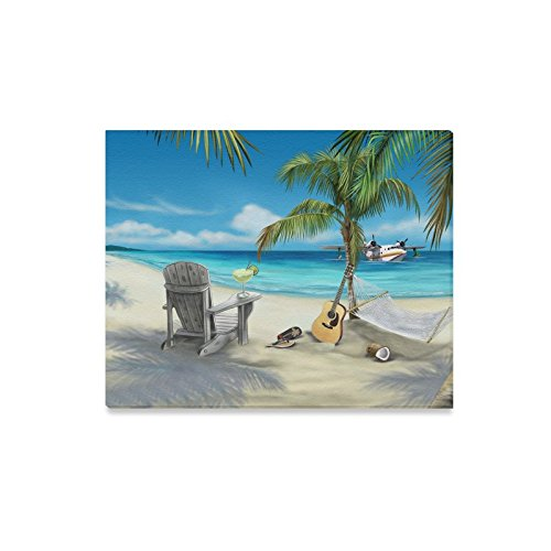 Famous Wall Art Beach Palm Tree Chair Guitar Slippers Pattern Home Decorative Canvas Prints- 20x16 Inch(One (Palm Tree Slipper)