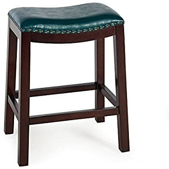 Amazon Com Counter Bar Stools Bistro Teal Backless Wood